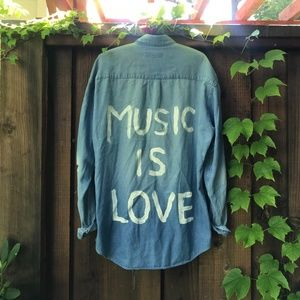 """MUSIC IS LOVE"" Oversized Denim Shirt"